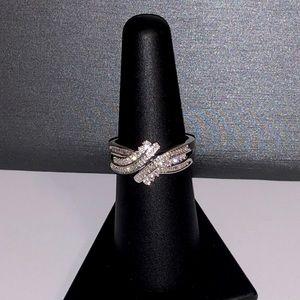 NEW .68ctw genuine diamond sterling silver ring